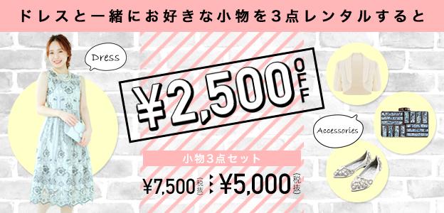 ドレスと一緒にお好きな小物を3点レンタルすると¥2500OFF